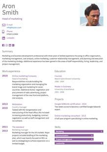 CV template marketing small